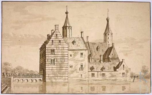 Het Oude Slot te Heemstede. Tekening van Abraham de Haan uit 1727 (RKD)