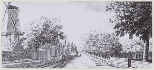DE Princebuurt met molen de Nachtegaal en rechts de hofstede OVERMEER op een tekening van Hendrik Tavenier, 1797