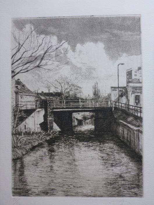9c2959fd8e8 Ets door Jan Willem Post met voorstelling van de Ijzeren Brug, verbinding  over de Zandvaart tussen de Raadhuisstraat en Binnenweg Heemstede
