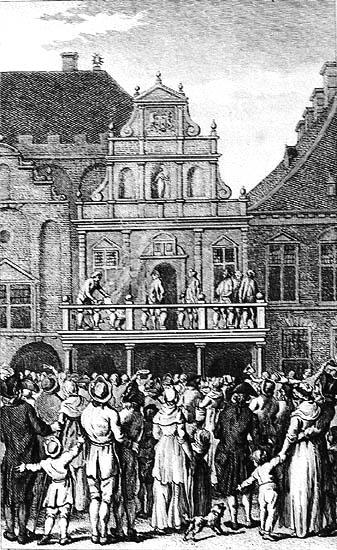 Een pamflet door beulshanden verbrand voor het stadhuis in Haarlem. Gravure door J.Buys uit 1799/