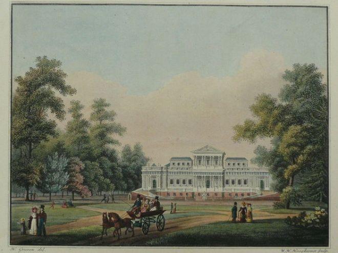 't Paviljoen, aquatint door H.W.Hoogkamer, 1820 (Buffa)