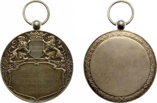 Penning vervaardigd in herinnering aan bezoek koningin Wilhelmina aan bivak Bennebroek 11 augustus 1916
