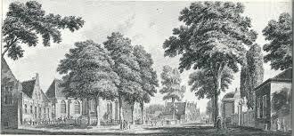 Kerk- of Dorpsplein met zicht op de Voorweg en rechts ingang naar de hofstede Valkenburg. Gravure door Hendrik Spilman uit omstreeks 1750.