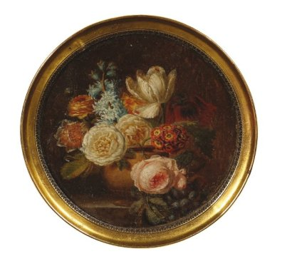 Bouquet bloemen op een tafel. Miniatuur op papier door Christiaan van Pol (Drouot)