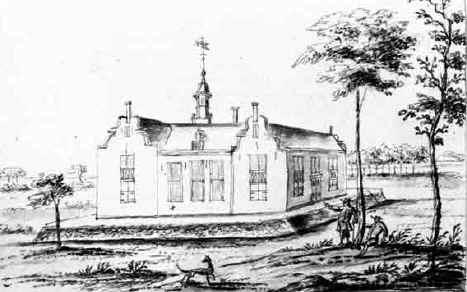 Huis te Vogelenzang. Tekening door H.Pola uit 1718.