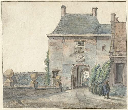 Poort van het slot Heemstede, getekend door Gerrit Lamberts in 1813 (Rijksmuseum)