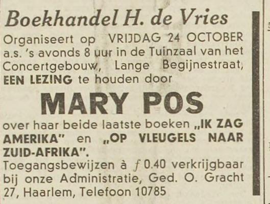 Lezing van Mary Pos in Haarlem, georganiseerd door boekhandel H.de Vries. Uit Haarlem's Dagblad van 18-10-1941