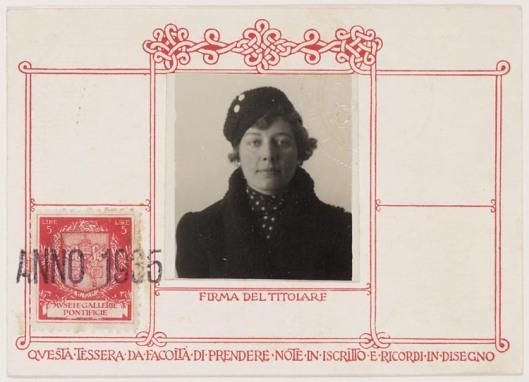 Toegangskaart Mary Pos voor bezoek aan Vaticaans Museum, 1985 (Geheugen van Nederland)