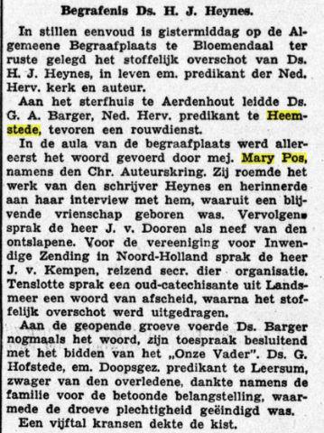 Mary Pos als spreekster bij de begrafenis van predikant en schrijver H.J.Heynes. Uit: De Gooi en Eemlander, 22-1-1936