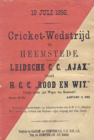 Affiche van cricketwedstrijd in Heemstede, 1896, op het terrein aan de Meerweg achter 'Het Wapen van Heemstede'