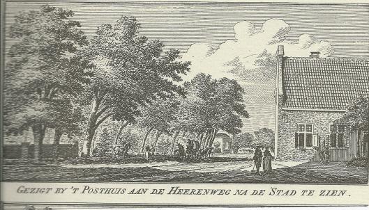 Hendrik Spilman: gezicht op het Posthuis aan de Herenweg, 1761