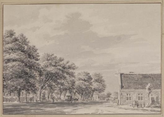 Posthuis te Heemstede. Tekening van Hendrik Spilman circa 1770 (Teylers Museum)