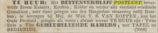 Advertentie uit Algemeen Handelsblad van 18 april 1862 waarin de weduwe Van Koppen huize Postlust te koop aanbiedt