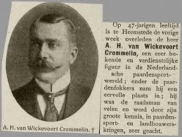 A.H.van Wickevoort Crommelin overleden. Bericht uit de Prins van 1912