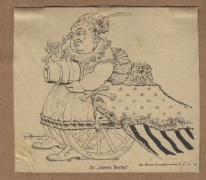 Illustratie van 'De nijvere Bertha', uit: De Amsterdammer, 6 december 1914