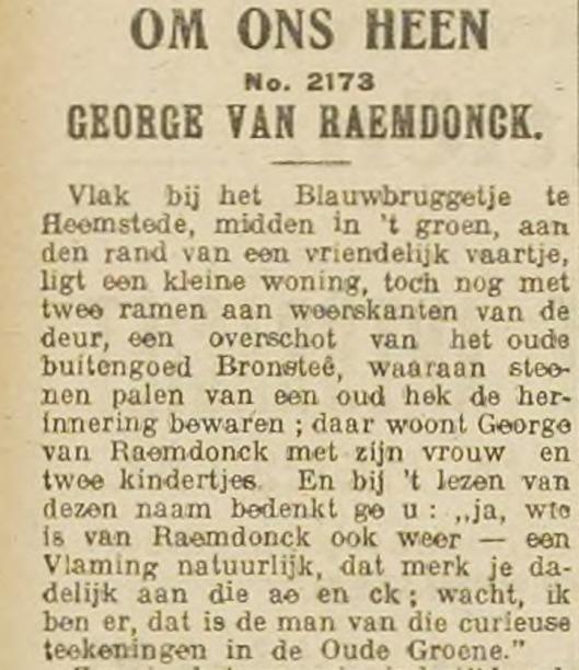 Begin van een artikel over George van Raemdonck uit Haarlem's Dagblad van 6 juni 1916.