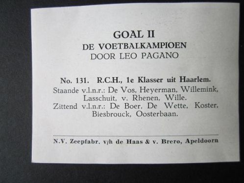 Namen van spelers RCH, seizoen 1952-1953
