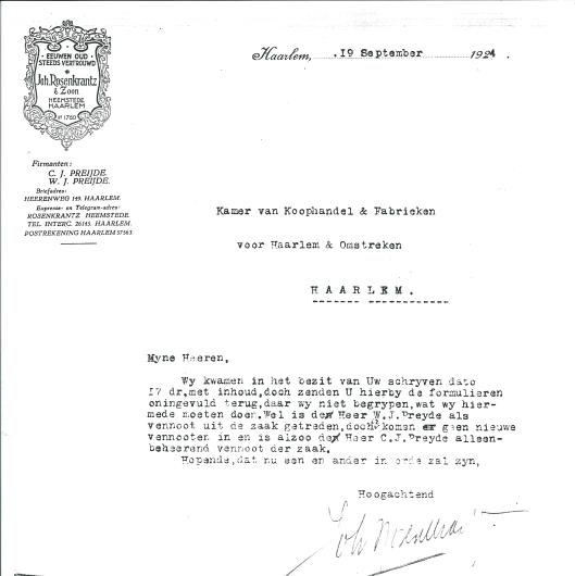 Schrijven van de firma Joh. Rosenkrantz & Zoon