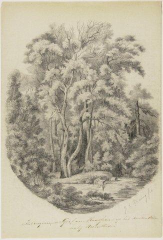 Keukenduin met vervallen tombe van Rousseau. Tekening door J.E.Koning (NHA).