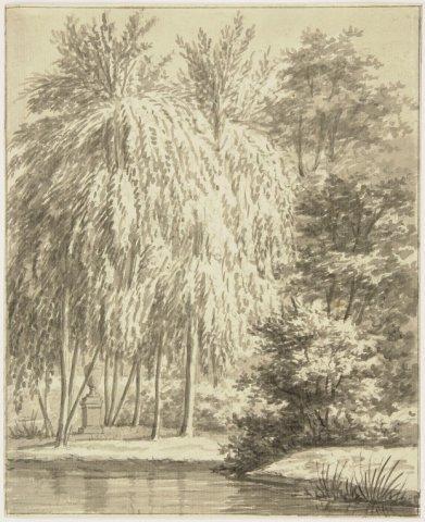 Eilandje Rousseau op Meer en Berg tegenover de Hartekamp; door Cornelis van Hem, 1807 (NHA)