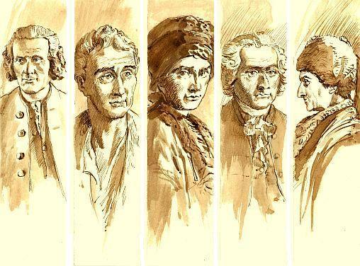 Serie van 5 ontwerpen voor bladwijzer mer portret van J.J.Rousseau, in 2012 300 jaar geleden geboren; door Jap den Hollander