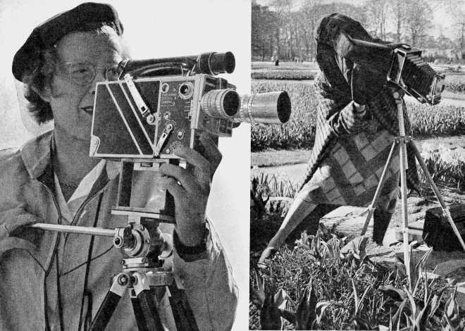Charmante cineaste en fotografe aan het werk op de Flora van 1953 (Ruud van de Moolen)
