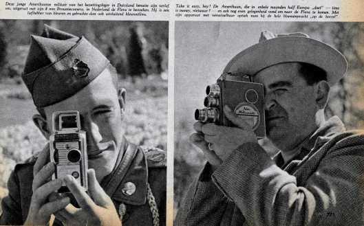 Met professionele apparatuur aan het fotograferen tijdens de FLORA 1953
