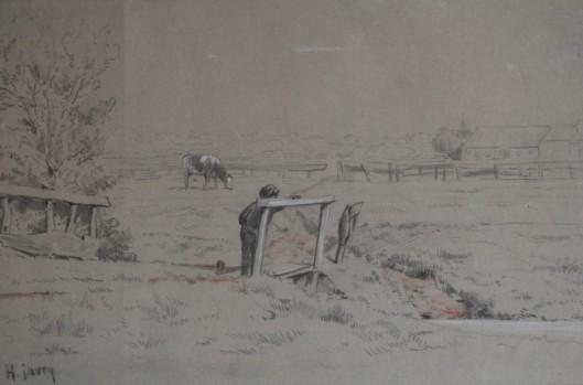 Hendrick Savrij (1823-1907). Weidelandschap met boerderij en Oude Kerk van Heemstede in de verte.