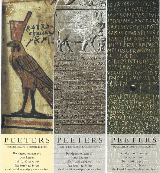 3 boekenleggers uit een serie van Peeters Publishers and Booksellers in Leuven