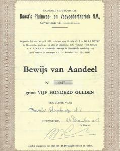 Bewijs van aandeel van n.v. Roest's Pluimvee- en Veevoederfabriek aan de Kanaalweg in Heemstede, opgericht in 1937