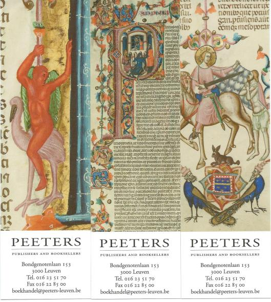 3 bladwijzers uit een reeks van Peeters-Leuven gewijd aan The Anjou Bible a royal manuscript revealed Naples 1340. Ed. by Lieve Watteeuw & Jan van der Stock. Leuven, Peeters, 2010