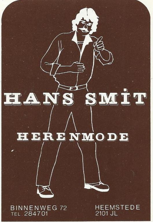 Sticker van Hans Smit Herenmode, Binnenweg 72 Heemstede