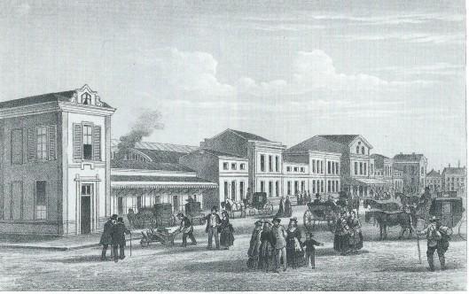 Anonieme litho uit 'Souvenir de la Hollande' (1873) van het station Haarlem, gebouwd in 1867 en tot 1908 in gebruik.