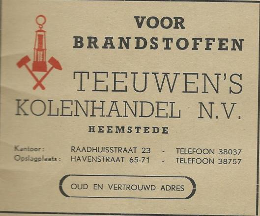 Advertentie Teeuwen's Kolenhandel n.v. uit 1955.