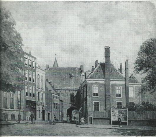 Schilderij met rechts het huis Buitenhof 28 te 's-Gravenhage. Hier woonde een groot deel van haar leven Johanna Maria Dutry (gescheiden van J.F.H. de Drevon), ambachtsvrouw van Heemstede van 1793 tot 18009.