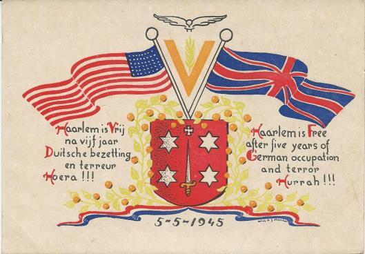 Na de Bevrijding van 5 mei 1945 ontwierp Wim N.J.Meester deze gekeurde kaart Haarlem-kaart