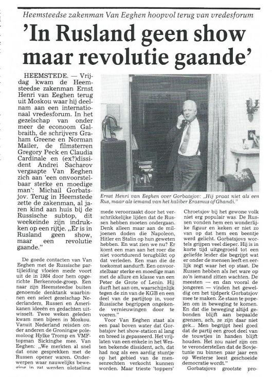 Van Eeghen. Uit: Haarlems Dagblad van 23 februari 1987.
