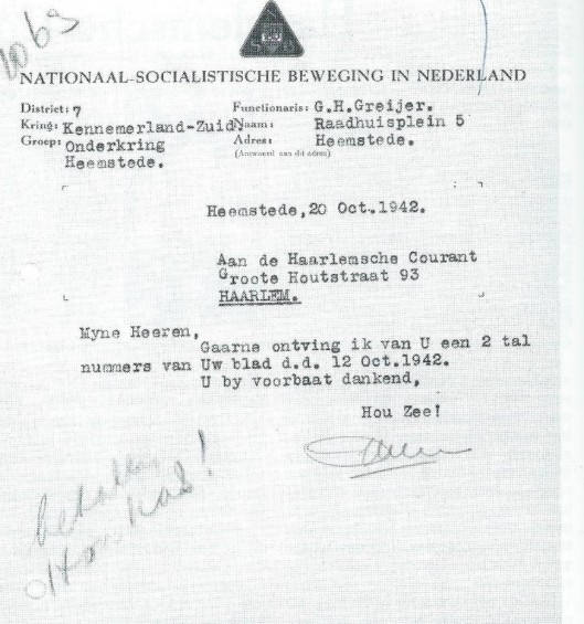 De NSB-Kring Heemstede was tijdens de bezettingsjaren gevestigd op het adres Raadhuisplein 5