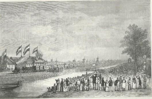 Plechtige inwijding van de Hollandsche IJzeren Spoorweg tussen Amsterdam en Haarlem, op vrijdag 19 september 1839. Tekening van J.C.Greive Jr., naar een lithografie van M.Mourot.