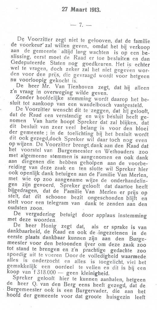 Vervolg aankoop wandelbos Groenendaal. Raadsnotulen Heemstede 27 maart 1913 (3)