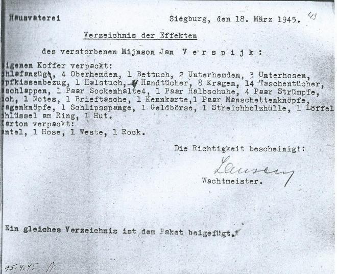 Een dag na het overlijden van Verspijck Mijnssen werd dit overzicht van zijn eigendommen in 1 koffer in de gevangenis van Siegburg opgesteld.