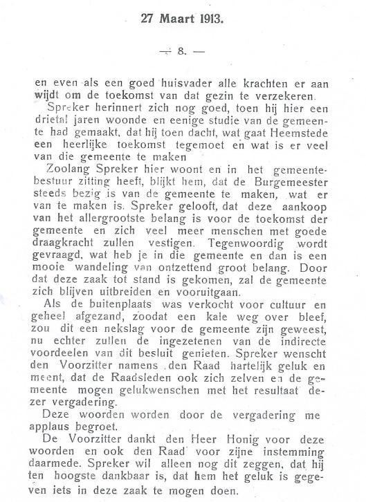 Vervolg Raadsnotulen aankoop wandelbos Groenendaal 27 maart 1913 (3)