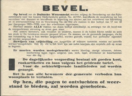 Bevel van de Duitse Weermacht uit 1942 waarbij mannen tussen 17 en 40 jaar worden opgeroepen voor de arbeidsinzet.