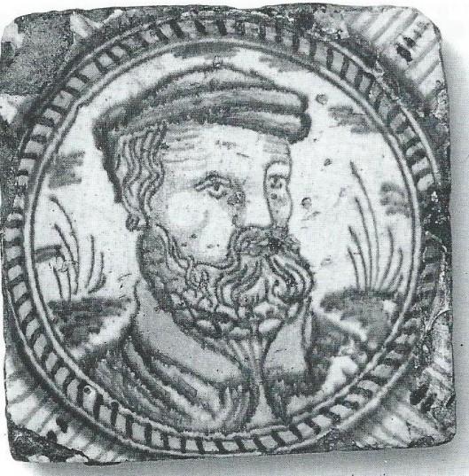 Jan Matthijsz. van Haarlem op een tegel verbeeld, circa 1608 (coll.J.van Loo)