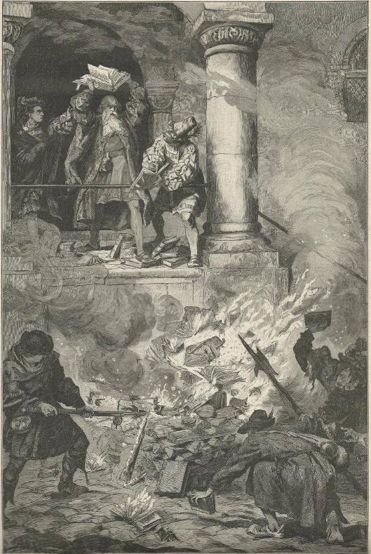 De profeet van Haarlem, de Haarlemse bakker en wederdoper Jan Matthijsz. op de Marktplaats in Münster. In 1527 werd hij veroordeeld tot tot openbare geseling en doorboring van zijn tong. (Gravure naar een tekening opgenomen in Robert Hamerlings' boek 'König von Sion')
