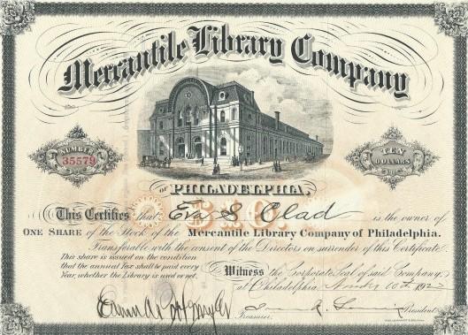 Aandeel van de Mercantile Library Company of Philadelphia uit 1902.