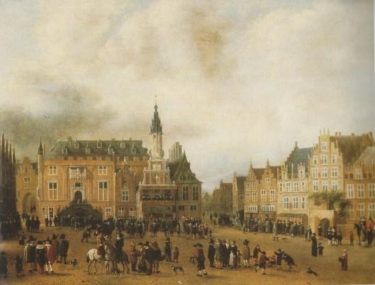 De afkondiging van de Vrede van Munster in 1648 vanaf het schavot voor het stadhuis in Haarlem. Schilderij van C.Rombouts.