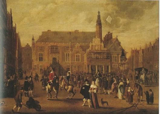 De afkondiging van de Vrede van Munster in 1648 gevierd in Haarlem op een schilderij van C.Beelt.
