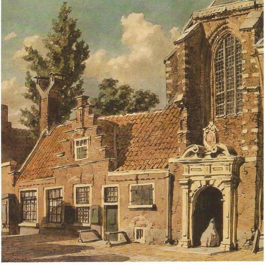 Circa 1865 gemaakte tekening door W.J.Boogaard van het oostportaal van de Janskerk en ernaast gelegen kosterswoning. Sinds het begin van de 17e eeuw was de kloosterkerk van de Commanderij van Sint Jan in gebruik voor de Hervormde eredienst.