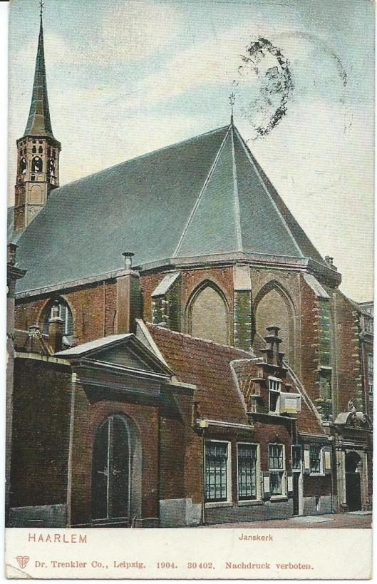 Kaart van de Janskerk uit begin 1900. Sinds 1936 is in hert gebouw het gemeentearchief van Haarlem gevestigd, tegenwoordig Noord-Hollands Archief met een tweede huisvesting aan de Kleine Houtweg.
